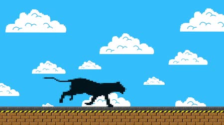 panter : Black Panther Running in an Old Video Game Arcade Style Stok Video