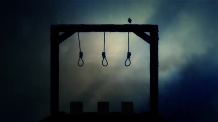 until : The Gallows Ready for an Execution with a Black Raven in a Storm