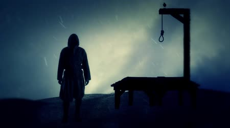 until : Executioner and the Gallows Under Rain Stock Footage