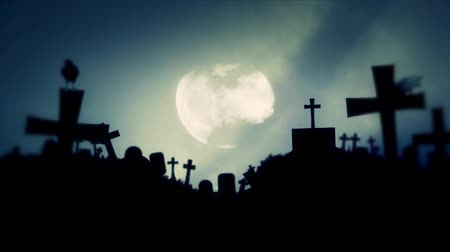 trumna : Spooky Cemetery with Ravens Standing on Graves on Full Moon Background