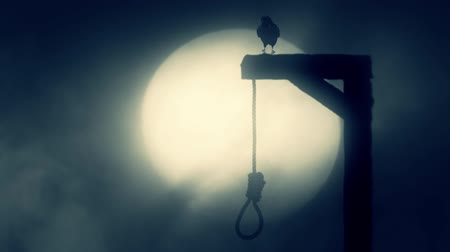 until : Nooses Hanging on the Gallows with a Raven on a Misty Full Moon Spooky Night