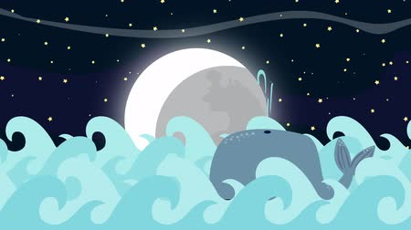sıçrama : Cartoon Whale Swims in the Sea on a Full Moon Night