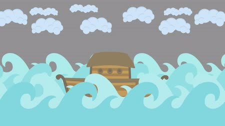 great story : Noahs Ark Floating in the Middle of the Sea With Cloudy Sky Stock Footage