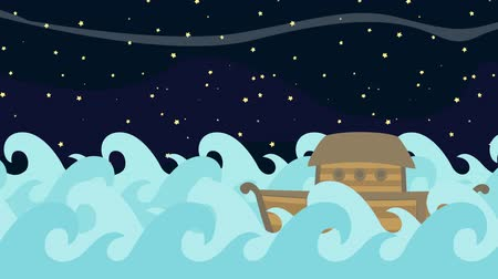 great story : Noahs Ark Sailing in the Sea on a on a Starry Night Background Stock Footage
