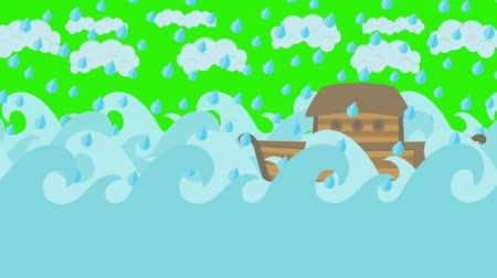 great story : Noahs Ark Sailing in the Sea Under Rain on a Green Screen