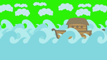 great story : Noahs Ark Sailing in the Sea With Cloudy Sky on a Green Screen