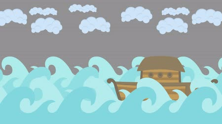 great story : Noahs Ark Sailing in the Sea With Cloudy Sky