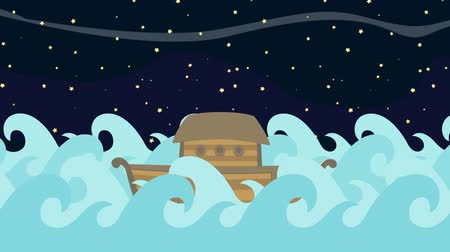 great story : Noahs Ark Floating in the Middle of the Sea on a Starry Night Background