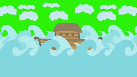 great story : Noahs Ark Floating in the Middle of the Sea With Cloudy Sky on a Green Screen