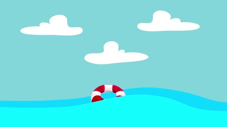 lifebelt : Cartoon Lifebuoy Floating in the Sea on a Blue Sky Background Stock Footage