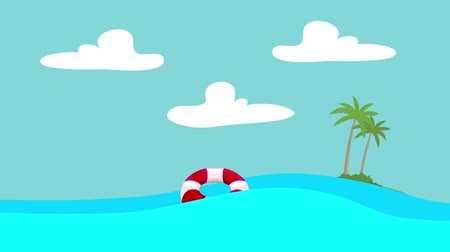 lifebelt : Cartoon Lifebuoy Floating in the Sea with an Island at the Distance