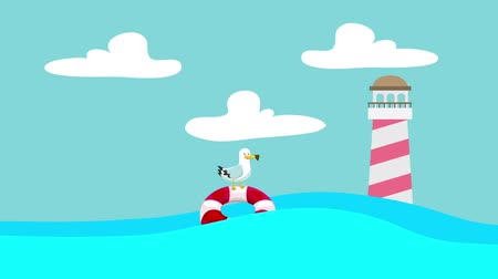 lifebelt : Cartoon Seagull Standing on a Lifebuoy Floating Between the Sea Waves with a Lighthouse