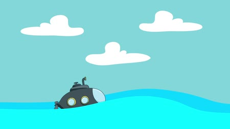 periscope : Cartoon Submarine Sailing in the Sea Between the Waves