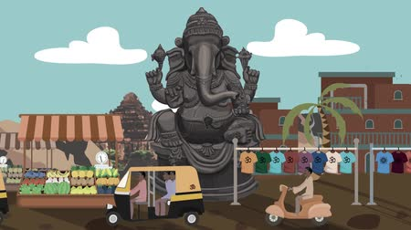 ganesha : Ganesha Statue in a Busy Indian Market with Rickshaws Passing by Cartoon Style