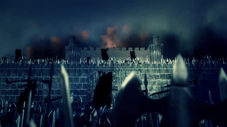 kuşatma : Great Medieval Army of Warrior Marching and conquering a Burning Castle Under a Lightning Storm
