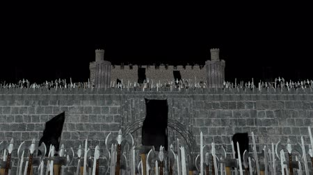 kuşatma : Massive Medieval Army of Vikings Invading into a Castle in Alpha Channel Stok Video
