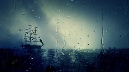 парусный спорт : Sailing Ship Docking Close To Shoreline Under Rain