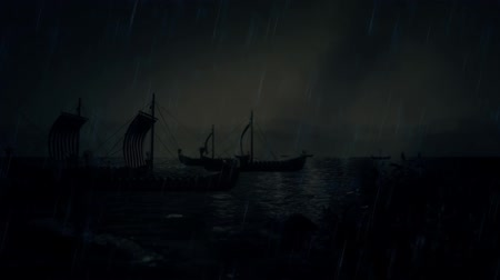 leif : Viking Ships Sailing to Shore Under a Storm Stock Footage