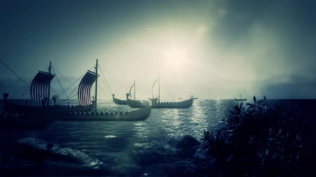 keşif : Viking Battle Ships Sailing to a Coast