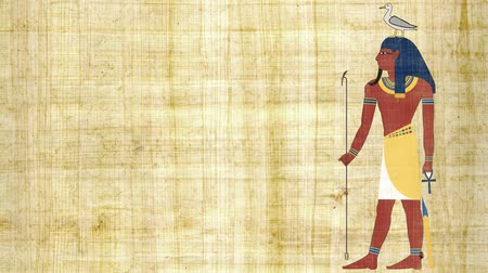 papyrus : The Egyptian God of Earth Geb on a Papyrus Background 4K Stock Footage