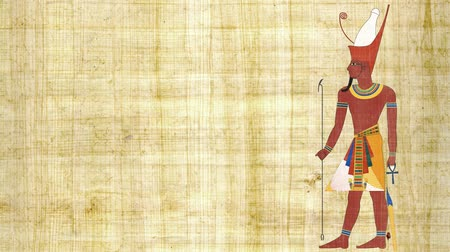 papyrus : An Egyptian Pharaoh with Double Crown on a Papyrus Background