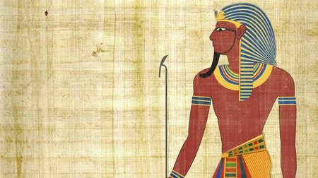 mitologia : Egyptian Pharaoh on a Papyrus Background