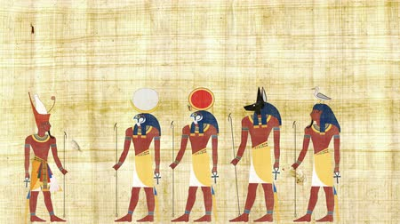 papyrus : Pharaoh Consulting with Ra Geb Khonsu and Anubis Stock Footage