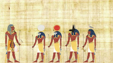 papyrus : Pharaoh Consulting with the Gods of Egypt