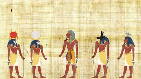 papyrus : Pharaoh Surrounded By the Gods of Egypt