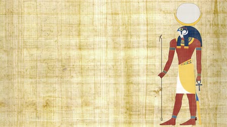 papyrus : Egyptian God of Moon Khonsu on a Papyrus Background