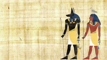 papyrus : Egyptian Gods Anubis and Geb