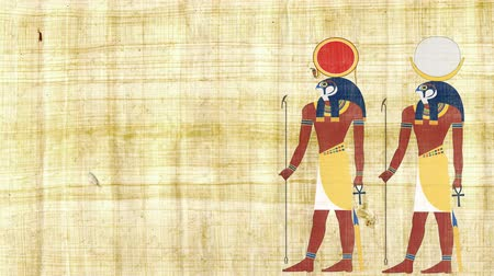 papyrus : Egyptian Gods Ra and Khonsu