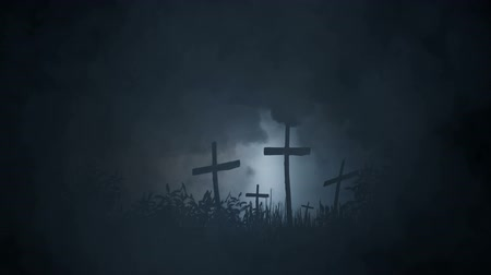 improvised : Graves Marked With A Crosses In The Wild Stock Footage