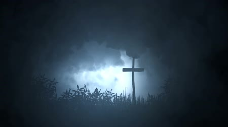 improvised : Single Grave In The Wile Marked With A Cross Under Storm Stock Footage