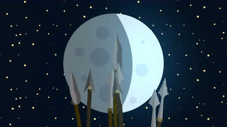 azték : Primitive Tribe Waving Spears At The Moon