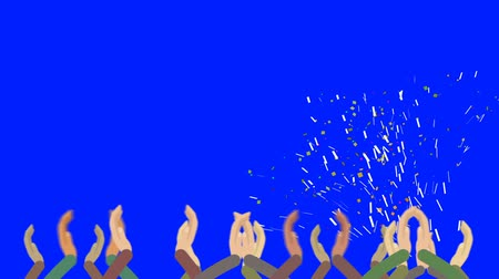 партнеры : Cartoon Crowds Clapping in with Confetti on a Blue Screen