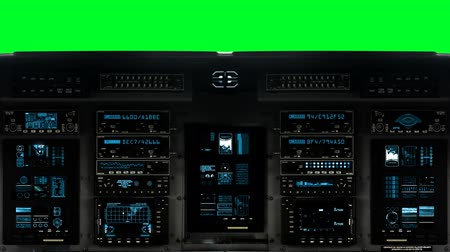hajózik : Control Bridge on a Spaceship on a Green Screen Background Stock mozgókép