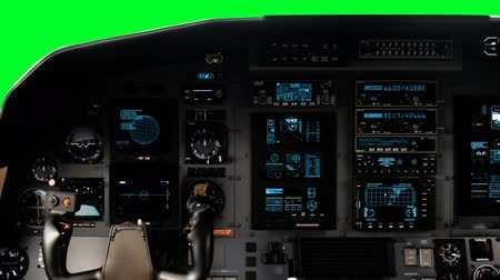 hajózik : Futuristic Pilot Cockpit Yoke with a Full Operative Dashboard on a Green Screen on a Green Screen