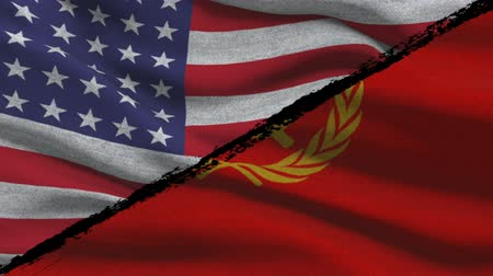 cold war : The Cold War America VS Soviet Russia Flags on a Green Screen Stock Footage