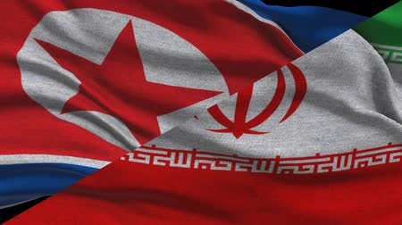 supreme : North Korea And Iran Waving Flags In Alpha Channel Stock Footage