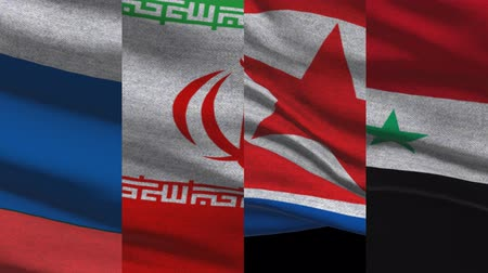 isis : Russia Iran North Korea And Syria Waving Flags Stock Footage