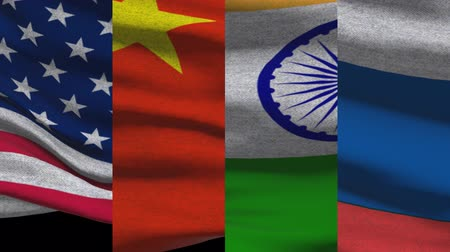 supreme : USA China India And Russia Waving Flags Stock Footage