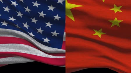 supremo : USA Vs China Waving Flags In Alpha Channel Vídeos