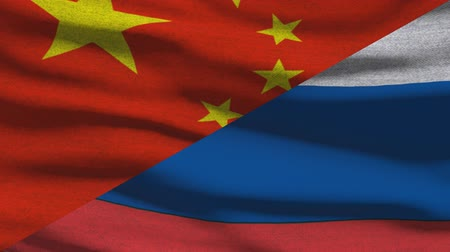 supremo : China And Russia Waving Flags In Alpha Channel