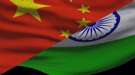 supreme : China Vs India Waving Flags In Alpha Channel Stock Footage