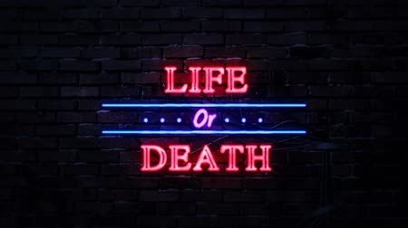 metaphors : Life Or Death Neon Sign Stock Footage