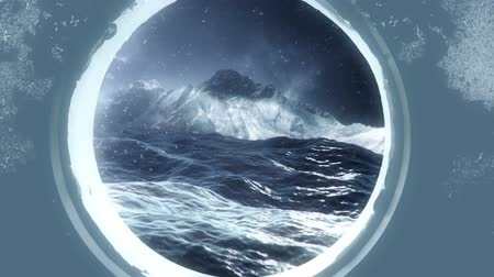 cold war : Island Through a Submarine Porthole in the Ocean on a Storm