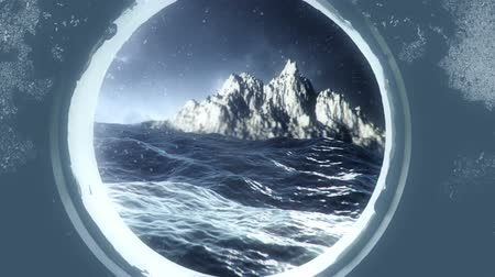 잠수함 : Island Through a Submarine Porthole in the Ocean on a Storm