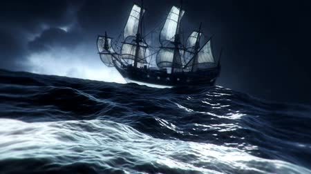 portugál : Sailing Ship Drifting In A Middle Of A Big Storm At Sea