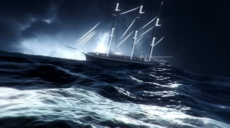 cold war : Sailboat Drifting in a Middle of a big Storm at Sea